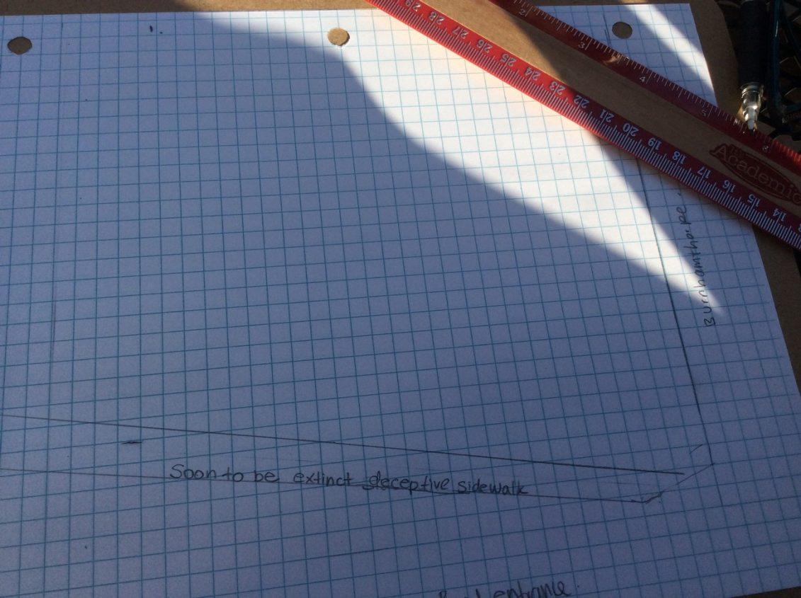 Graph paper with preliminary garden designs