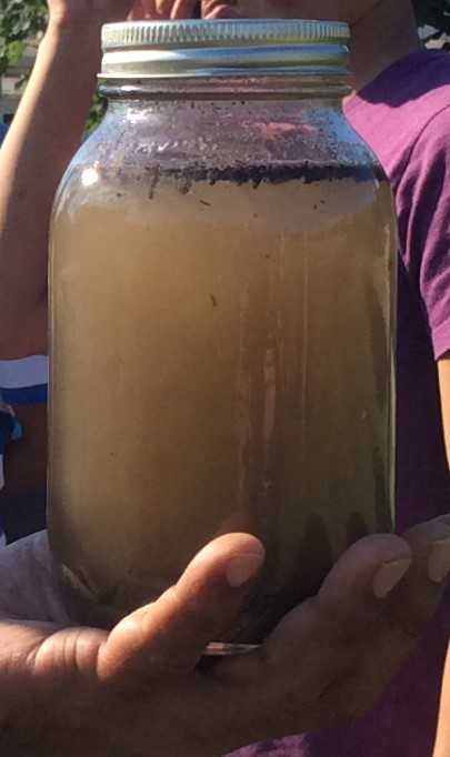 Jar with ideal soil settled at the bottom