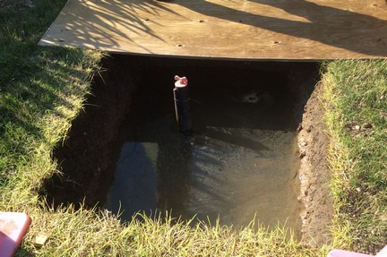percolation test pit_half water drained