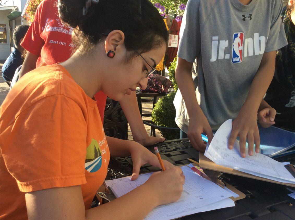 youth participant capturing garden design ideas